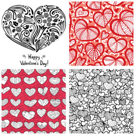 complementary: Valentines Day set (heart silhouette cover illustration and 3 complementary  seamless patterns)