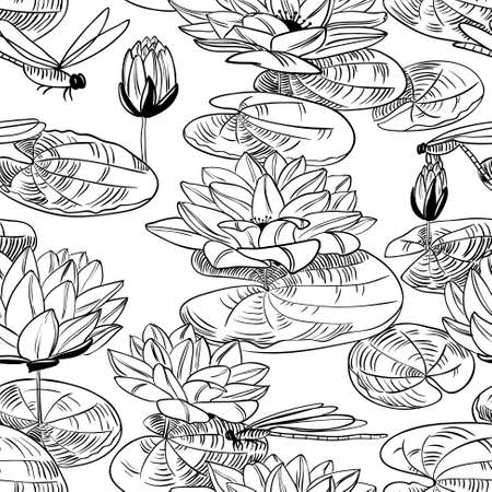 ponds: Doodle seamless pattern with a water lily and dragonfly