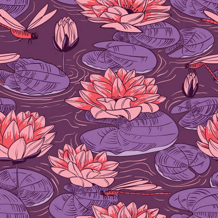 lily: Seamless pattern with a water lily and dragonfly