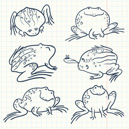 anuran: Set with doodle frogs Illustration
