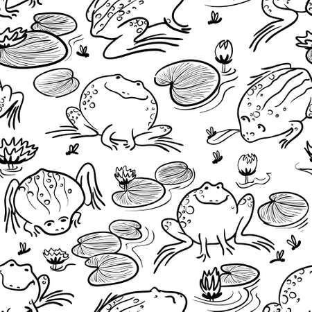 black and white leaf: Seamless pattern with doodle frogs Illustration
