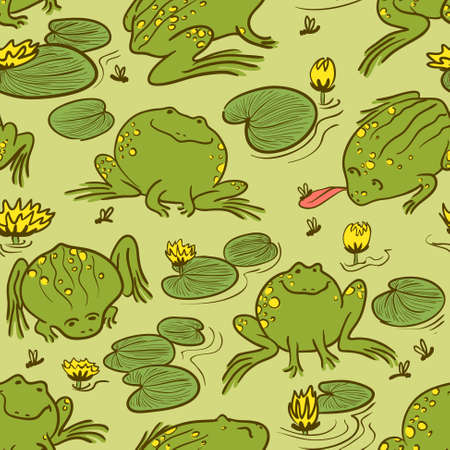 Seamless pattern with frogs and water lily