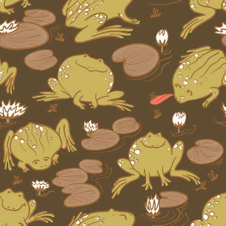 anuran: Seamless pattern with frogs and water lily