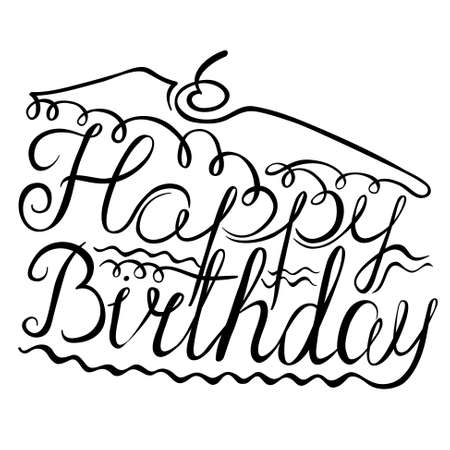 piece of cake: Birthday lettering composition in the form of a piece of cake. Illustration