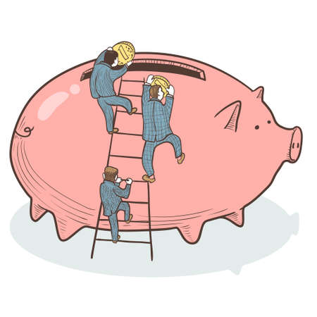 thrift box: Businessmen stacked coins in large piggy bank Illustration