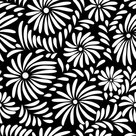 decorative patterns: Abstract black and white floral seamless pattern