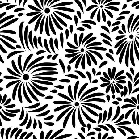 Abstract black and white floral seamless pattern