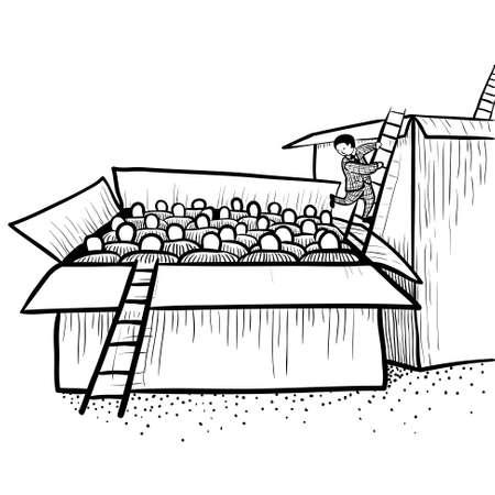 Karriere (oder soziale) Leiter. Umzug aus der Box mit den Arbeitern in der Box mit den Managern Vektorgrafik