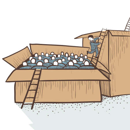 moving out: Career (or social) ladder. Moving out of the box with the workers in the box with the managers