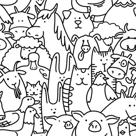 Doodle black and white seamless pattern with farm animals