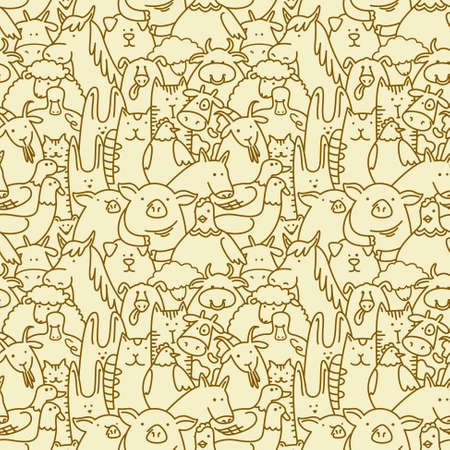 Doodle seamless background with farm animals