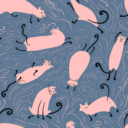 the simplicity: Cats seamless pattern, cute simplicity vector illustration