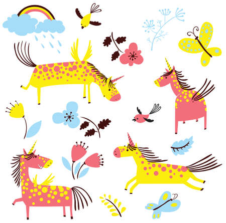 flying: Cute cartoon unicorns set