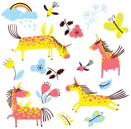 de dibujos animados lindo set unicornios