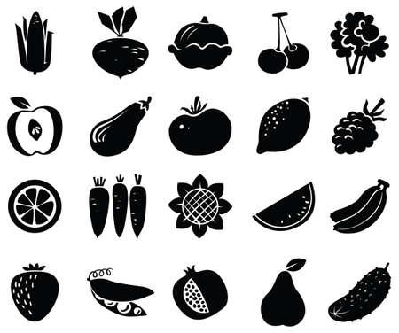 corn flower: Vegetables and fruits black icons set
