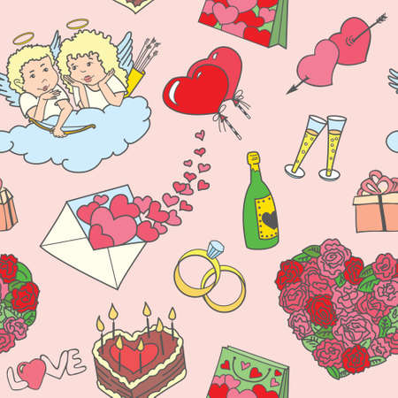 diamond candle: Seamless pattern with valentines doodles