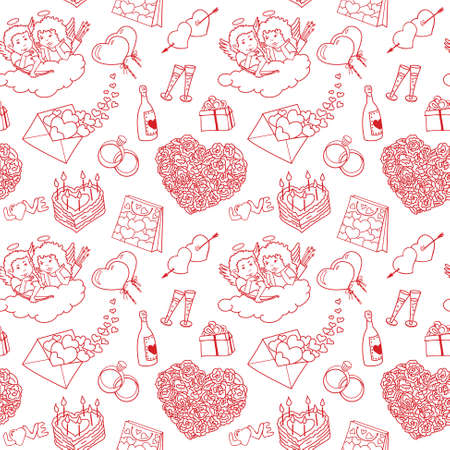 shopping champagne: Seamless pattern with valentines doodles