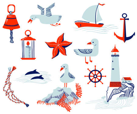 rock salt: Set with cute nautical objects Illustration