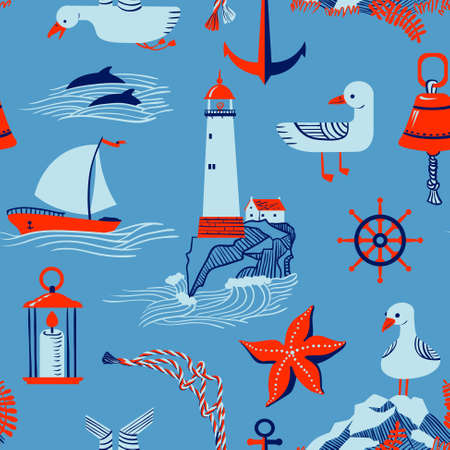 rock salt: seamless pattern with marine issues