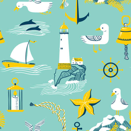 rock salt: Seamless pattern with marine issues. Illustration