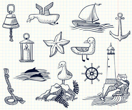 nautic: Set with sketchy nautical objects