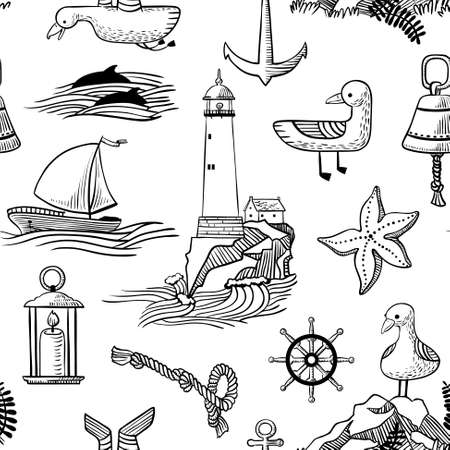 vessel: Seamless pattern with doodle marine objects