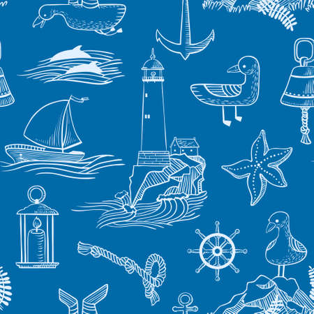 nautic: seamless pattern with marine issues