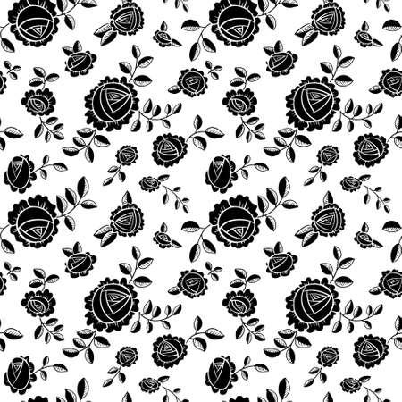 white roses: Vector black and white seamless background with roses