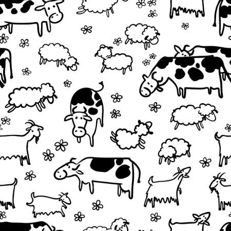 herd: Farm seamless pattern with sheep, goat and cow. Doodle hand-drawn vector Illustration