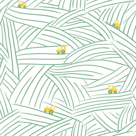 non urban: Minimalistic abstract farm seamless pattern with field and tractor