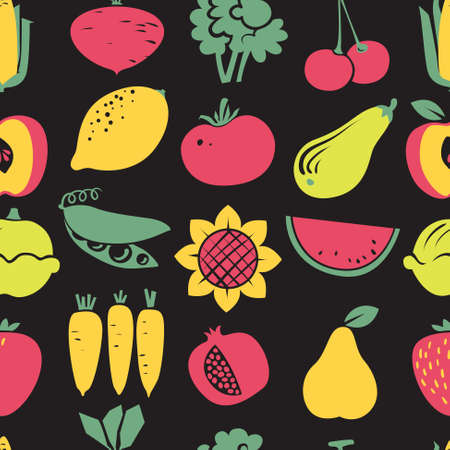 cherry tomato: Cute fruits and vegetables seamless pattern