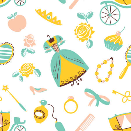 flower age: Cute Princess accessory seamless pattern Illustration