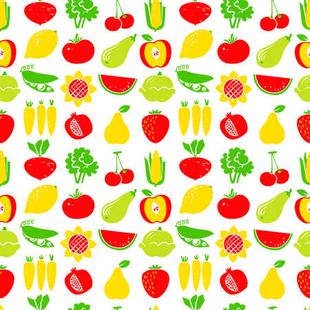 corn flower: Cute fruits and vegetables seamless pattern