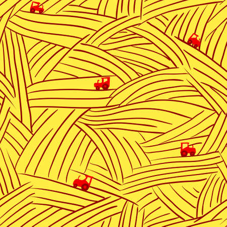 non   urban scene: Minimalistic abstract farm seamless pattern with field and tractor