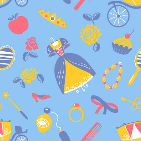 Cute Princess accessory seamless pattern Illustration