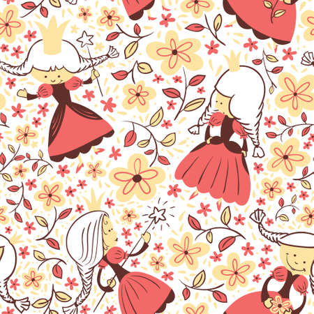 fairy: Fairy tail princess floral seamless pattern