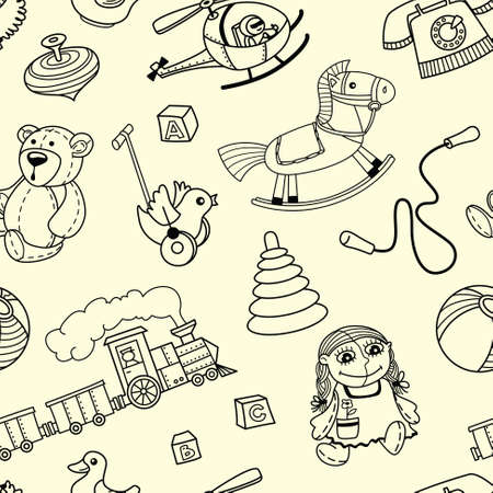 playful: Doodle seamles pattern with toys for children