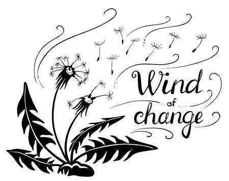 Vector dandelions silhouette with flying seeds. Wind of change lettering