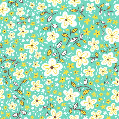 abstract doodle: Abstract seamless floral pattern in a childrens doodle style, vector background Illustration