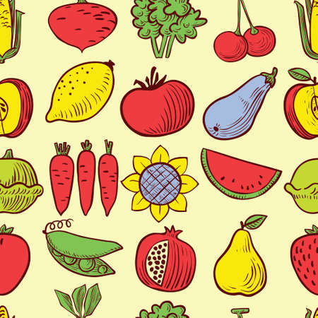 corn flower: Cute vector fruits and vegetables seamless pattern background in doodle childrens style