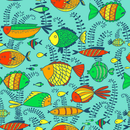 underwater fishes: vector seamless pattern with cute colorful doodle fishes and algae and underwater life Illustration