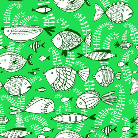 underwater fishes: Vector line art doodle illustration. Cute seamless pattern with underwater fishes in cartoon style