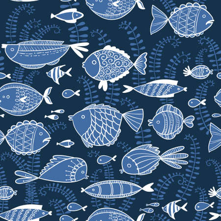 fish pond: Vector line art doodle illustration. Cute seamless pattern  background with fishes in cartoon style Illustration