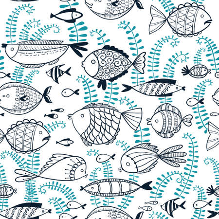 pond life: Vector line art doodle illustration. Cute seamless background with fishes in cartoon style Illustration