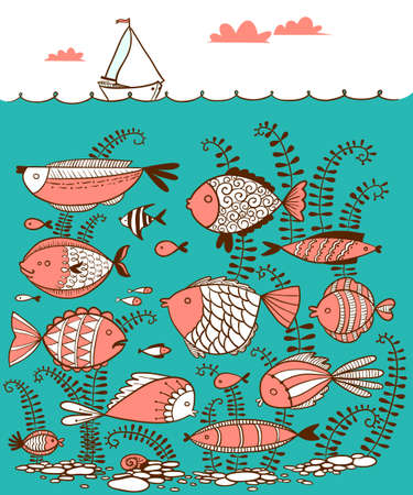 underwater fishes: Vector cute line art doodle illustration with underwater fishes and  sailing ship on the waves in cartoon style