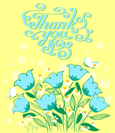 grateful: Vector grateful card in doodle style with flowers and cute Thank you lettering