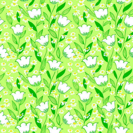 campanula: Abstract vector minimalistic floral seamless background in doodle style