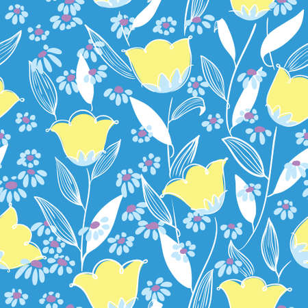 convolvulus: Abstract vector minimalistic floral seamless background in doodle style