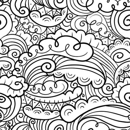 abstract doodle: Vector hand-drawn abstract seamless pattern in doodle black and white style Illustration
