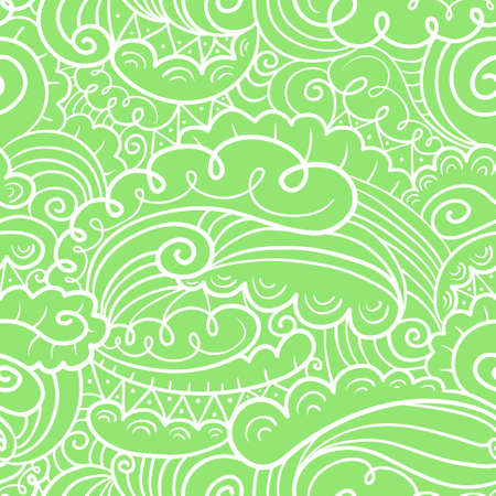 abstract doodle: Vector hand-drawn abstract green seamless background in doodle style